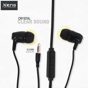 XENX  Wired Earphone With High Bass 3.5MM,  Noise Cancellation & in-line Mic (Black)