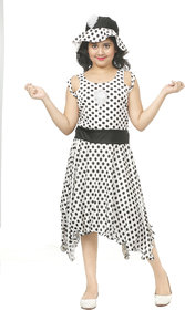 Sbn Girls White Polka Dots Knee Length Party Wear Dress With Cap