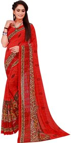 Florence Red Printed Georgette saree with Blouse