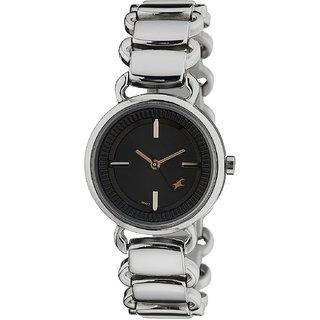 Fastrack Women Analog Black Round Dial Silver Metal Strap Watch - NM6117SM01 Ad