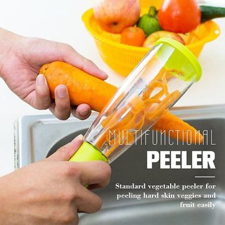 IQ TECH a Vegetable Peeler with Storage Box Stainless Steel Apple Potato Cucumber Carrot Peelers ( Multicolor )