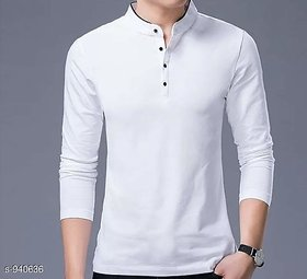Vicky Men's White Mandarin Neck T-shirt