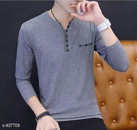 Vicky Men's Grey Henley T-shirt