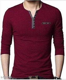Vicky Men's Maroon Henley T-shirt