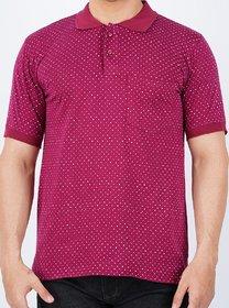 Vicky Men's Maroon Polo Collar T-shirt