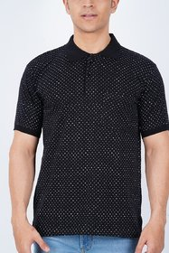 Vicky Men's Black Polo Collar T-shirt