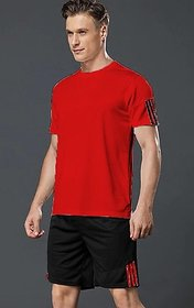 Ruggstar Men T-Shirt With Short Pant  Set (Red Combo)