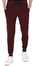 Vicky Men's Maroon Poly Cotton Trackpant