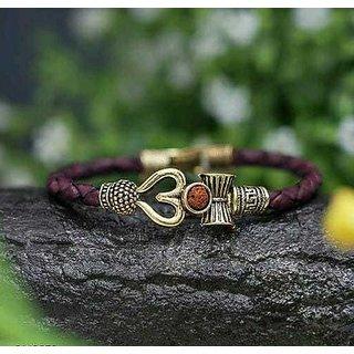 HRV Leather Garnet Gold Plated Bracelet