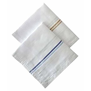 Bella 100 Cotton White Striped XL King Size Handkerchief Hanky For Men - Pack of 2
