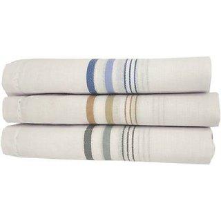 Bella 100 Cotton Men White Solid Handkerchiefs Pack of 3