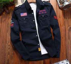 Freaky Navy Double Pocket Patch Shirt
