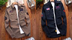 Freaky Combo Double Pocket Patch Shirt Khaki  Navy