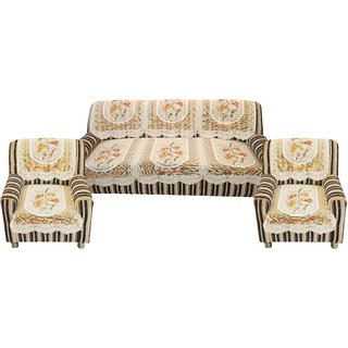 Sun Multiple Net Cotton Floral 5 Seater Sofa and Chair Cover (Off-White / Cream)