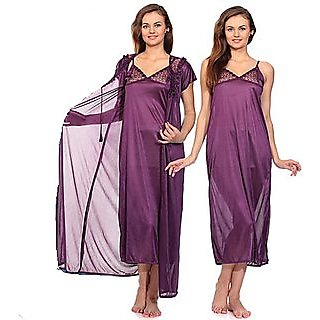 RamE-2 PC  Babay doll  Satin Purple Colour nighty ,gown ,night wear ,night dress,night suits