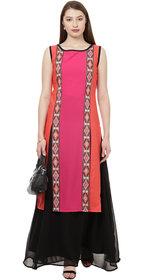 Ziyaa Women's Pink Digital Geometric Print Straight Casual Wear Crepe Kurta