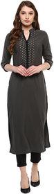 Ziyaa Women's Grey Colour 3/4Th Sleeve Crepe Straight Kurta