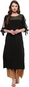 Ziyaa Women's Black Colour 3/4Th Sleeve Crepe Straight Kurta