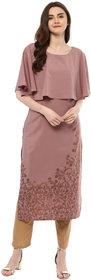 Ziyaa Women's Wine Colour Half Sleeve Crepe Straight Kurta