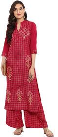 Ziyaa women's Maroon color Straight Foil Print Kurta