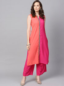 Ziyaa Women's Pink Color Solid Straight Crepe Kurta