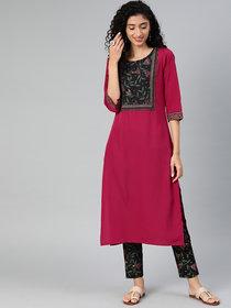 Ziyaa Women's Pink Colour Solid Straight Crepe Kurta