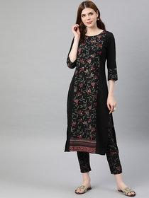 Ziyaa Women's Black Colour Foil Print Straight Crepe Kurta