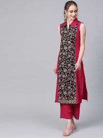 Ziyaa Women's Dark Pink Colour Khadi Print Straight Crepe Kurta