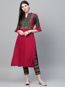 Ziyaa Women's Dark Pink Colour Foil Print Straight Crepe Kurta