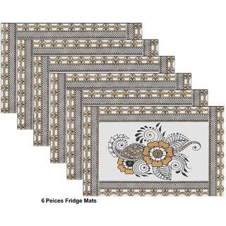 Sun Multiple 6pcs Table Mats Black Flower Design Transparent Matte  Glossy Reversible Mats - (Black Gold Flowers)