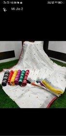 Pure cotton linen mirror  with pochampalli blouse