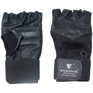 Vokka Sports Gym Leather Gloves for Workout, Weightlifting, Powerlifting with Wrist Wrap Support for Strong Grip