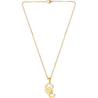 Vighnraj Jewels Bichhoo Gold Plated Cubic Zirconia Brass Pendant For Girls