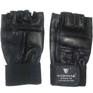 Vokka Sports Best Quality Gym Leather Gloves for Workout with Wrist Wrap Support for Strong Grip