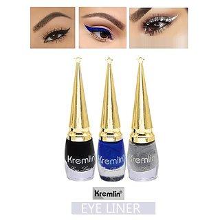 Kremlin Sparkling Eyeliner Pack Of 3 (Black ,silver  Blue)