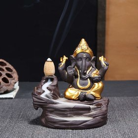 Home Artists - Ganesha ji Smoke Fountain Backflow Cone Incense Holder - Decorative Showpiece with 10 Back Flow Incense