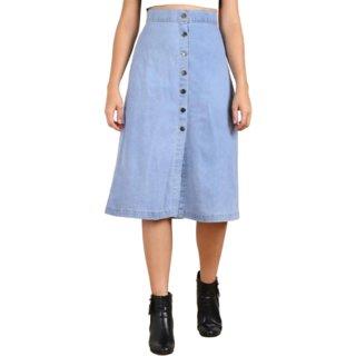 TNQ Women Denim Semi Long Skirt/Front Button Skirt