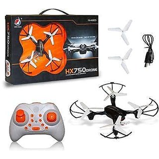 HX750 Drone 2.4 Ghz 6 Channel Remote Control Quadcopter/Unbreakable Blades/Without Camera for Kids (Black- Colors May V