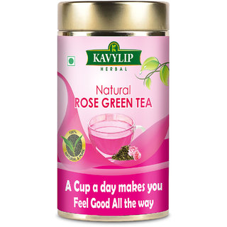 Rose Green Tea Whole Leaf for Healthy Skin, Made by pure natural Whole Rose Petals  leaf, 100 g Pack