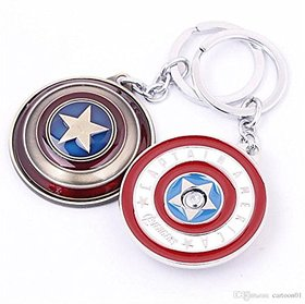 Captain America Shield Key Chain Metal Round Avengers Superhero Keychain