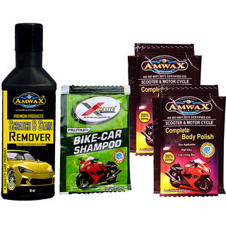 Amwax Scratch Stain Remover 50 ml, Car And Bike Body Polish Pouch 10+2 ml, Wash N Wax Shampoo Pouch 20 ML