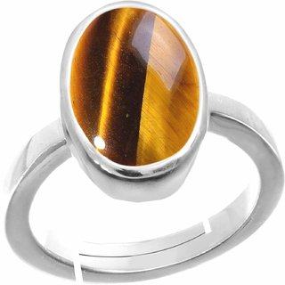 Bhairaw gems Natural Tiger's Eye Stone Silver Adjustable Ring 6.25 Ratti Rashi Ratna Original
