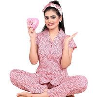 IMPEX Women's Pink Cotton Hosiery Printed Nightwear (Pajama & Top)