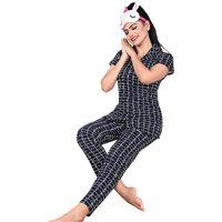 IMPEX Women's Black Cotton Hosiery Printed Nightwear (Pajama & Top)