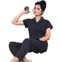 IMPEX Women's Blue Cotton Hosiery Printed Nightwear (Pajama & Top)