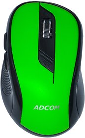 Adcom 6D Slim Wireless Optical Super Mouse with 6 Programmable Buttons, 1600dpi and 2.4Ghz Nano Receiver (Green)