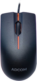 Adcom AD-12526 USB Wired 3D Optical Mouse (Black/Orange, Small Size)