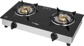 KHAITAN AVAANTE KWID SS 2 Burner Toughened Glass Top with Detachable Stainless Steel Spill Tray