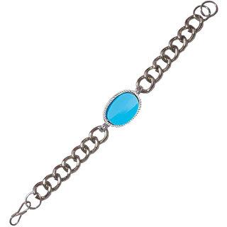 Dynox Salman Khan Inspired Stylish Turquoise Metallic Silver Bracelet