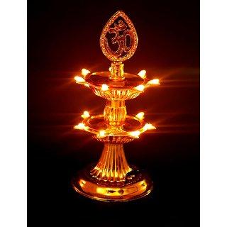 REBUY 2 Layer Electric Diya Deepak Light Lamp LED Light for Home Temple Decor